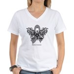 Diabetes Tribal Butterfly Women's V-Neck T-Shirt