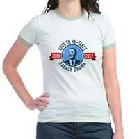 Vote to Re-elect Obama Jr Ringer T-Shirt