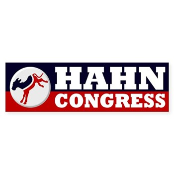Re-Elect Janice Hahn to the United States Congress (Red White and Blue Pro-Hahn bumper sticker with a kicking donkey for the California 36th Congressional race)