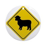 Sheep Crossing Sign Ornaments