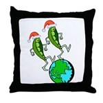 Christmas Peas on Earth Throw Pillow