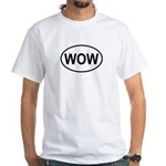 Wow Funny European Oval White T-Shirt