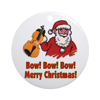 Bow Bow Bow Santa Ornament