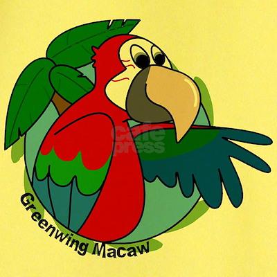 Cartoon Bird Greenwing Macaw T