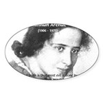 Philosopher: Hannah Arendt Oval Sticker