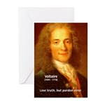 French Philosopher: Voltaire Greeting Cards (Packa