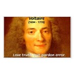 French Philosopher: Voltaire Rectangle Sticker