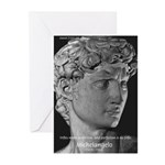 David with Michelangelo Quote Greeting Cards (Pack